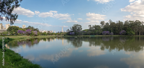 Panoramic view of Ibirapuera Park Lake and Sao Paulo Obelisk - Sao Paulo, Brazil
