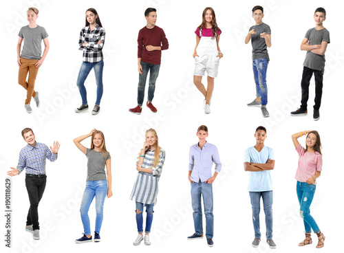 Collage with stylish teenagers on white background Canvas Print