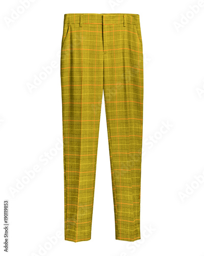 Yellow elegant checked retro trousers isolated white Canvas Print