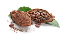 Halves Of Ripe Cocoa Pod With ...