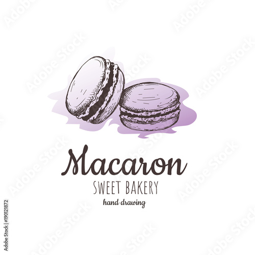 Aluminium Prints Macarons macaron, macaroon almond cakes, macaron sketch.