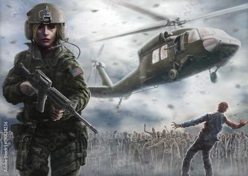Fotografie, Obraz  Woman pilot with an assault rifle. Zombie apocalypse zone.