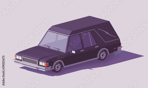 Photo Vector low poly funeral hearse car