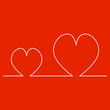 Continuous Line Two Hearts Shape for Valentine's Day. Vector illustration of a hearts isolated on red background.