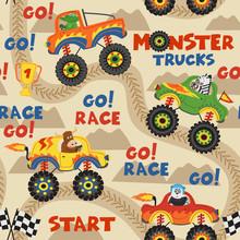 Seamless Pattern Monster Truck...