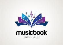 Music Book Logo Template Design Vector, Emblem, Design Concept, Creative Symbol