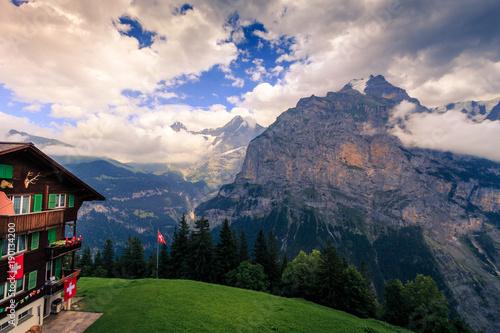 Deurstickers Toscane View from Murren on the Bernese Alps on a cloudy day in summer. Lauterbrunnen, Switzerland