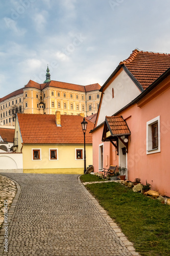 Staande foto India Street with rock pavement in historic Czech town Mikulov