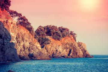 FototapetaScenic landscape with Mediterranean sea in Cinque Terre, Italy