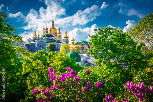 Spoed Foto op Canvas Kiev View of Kiev Pechersk Lavra. Old architecture in Kiev, Ukraine