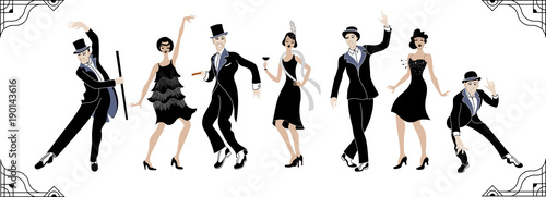 Charleston Party. Gatsby style set. Group of retro woman and man dancing charleston. Vintage style. retro silhouette dancer.1920 party vector background.Swing dance - 190143616