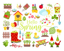 Spring And Gardening Tools Ico...