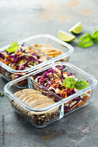 Fototapeta Healthy meal prep containers with quinoa and chicken obraz