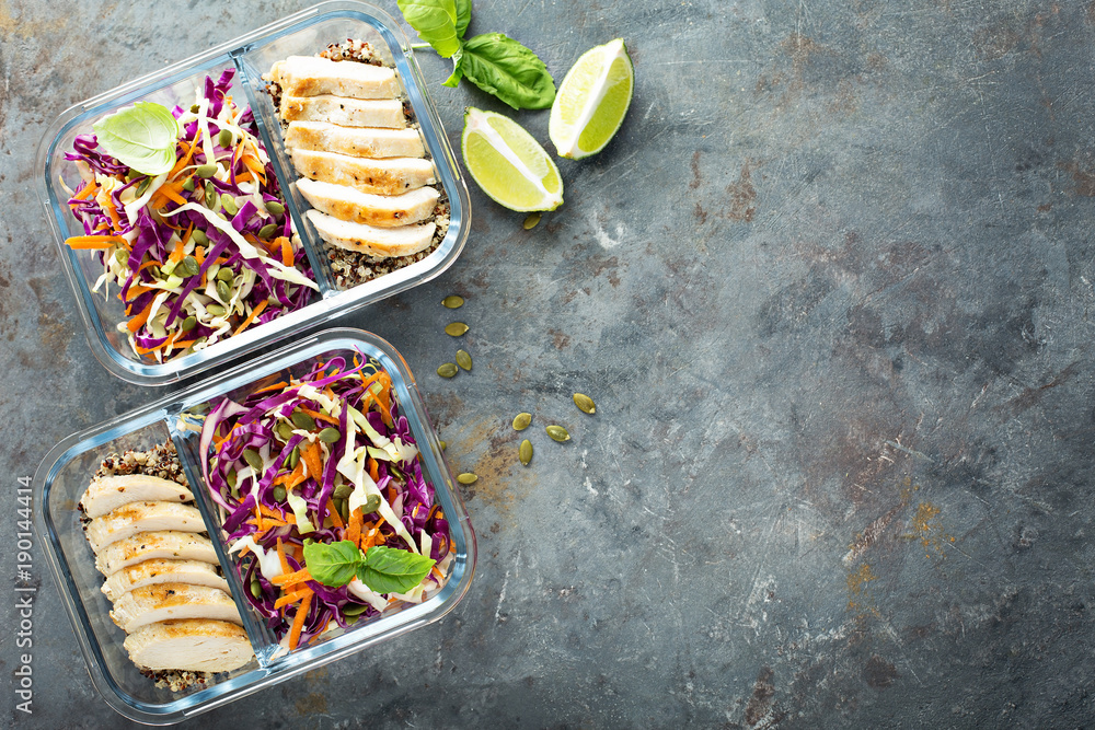 Fototapety, obrazy: Healthy meal prep containers with quinoa and chicken