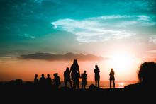 Sunset Silhouette Group Of Fri...