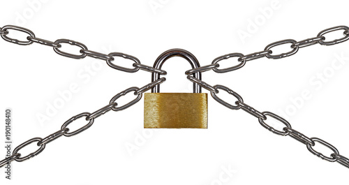 The padlock and chains Tableau sur Toile