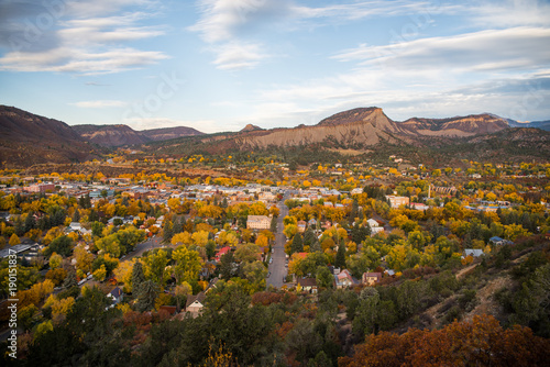 Spoed Foto op Canvas Blauwe hemel Landscape view of Durango, Colorado during autumn.