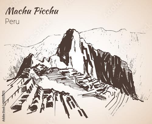 Photo Ruin of ancient civilization Machu Picchu. Peru, sketch.