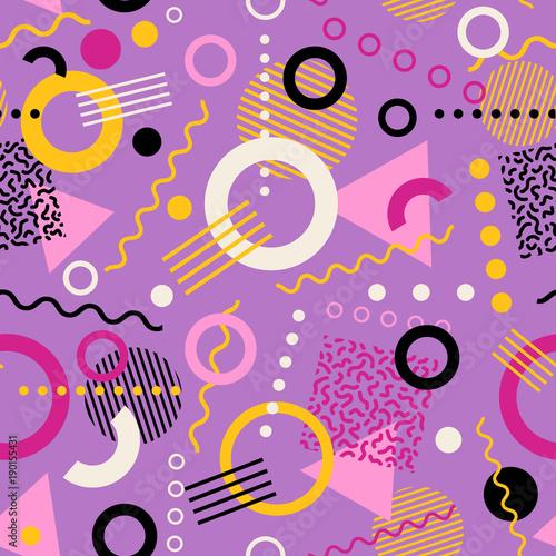 Vászonkép Retro seamless 1980s inspired memphis pattern background