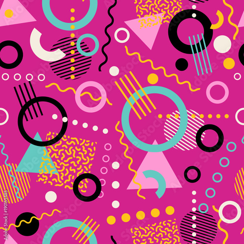 Vászonkép Retro seamless 1980s inspired memphis pattern background