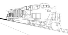 Modern Diesel Railway Locomotive With Great Power And Strength For Moving Long And Heavy Railroad Train. Vector Illustration With Outline Stroke Lines.