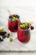Leinwandbild Motiv Summer berry drink with lime