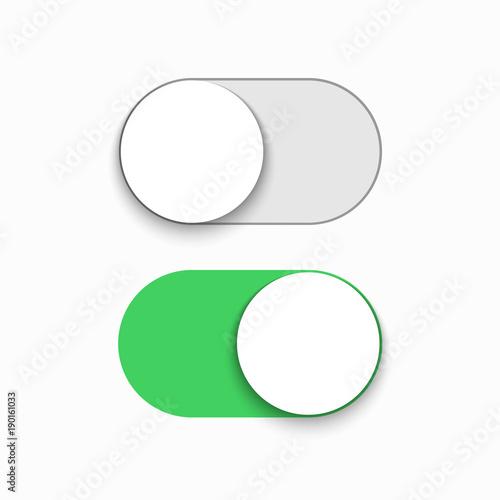 Fotografía  Vector modern green slider button on white background.
