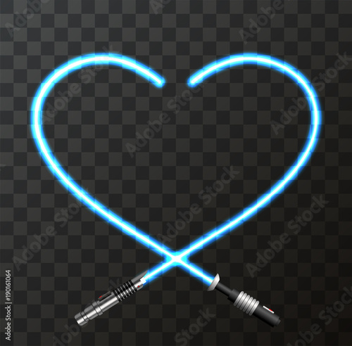 Photo  Vector modern concept heart and lightsaber for Valentines day