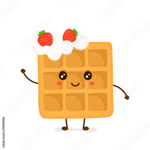 Fotomural Cute smiling funny viennese waffle