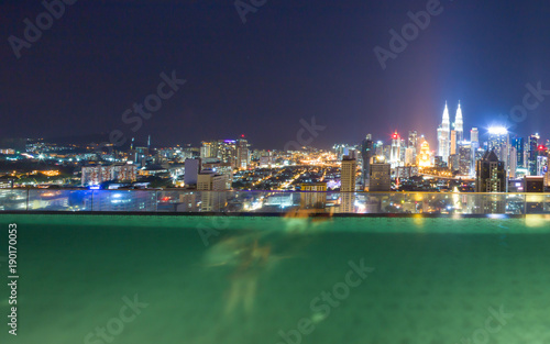 Photo Stands New York outdoor swimming pool and modern buildings at night