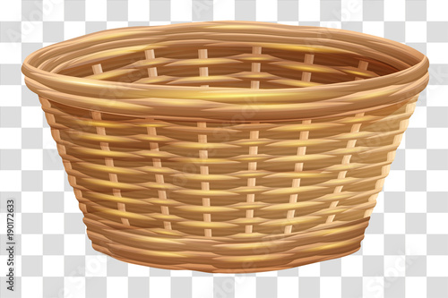 Fotografía  Empty wicker basket for flowers. Nest on transparent background