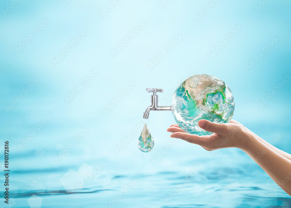 Fototapety, obrazy: World water day, saving water quality campaign and environmental protection concept. Element of this image furnished by NASA