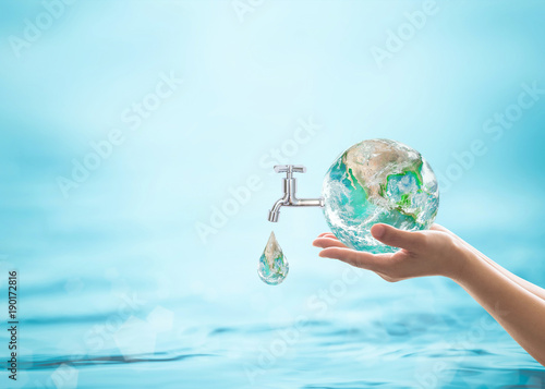 Fotografía  World water day, saving water quality campaign and environmental protection concept