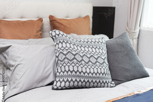 Fotografie, Tablou  Bedroom interior in rustic style with set of pillows