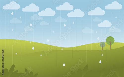 Green landscape and blue sky in the rain, vector