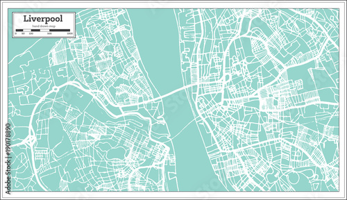 Fotografie, Obraz Liverpool England City Map in Retro Style. Outline Map.