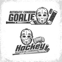 Classic Vintage Emblems Of Canadian Hockey With Retro Goale Mask, Stick And Puck. Grunge Texture On Separate Layer And Can Be Disabled.