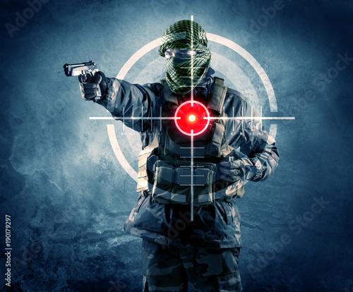 Masked terrorist man with g...