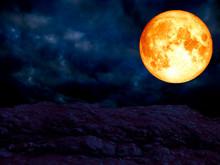 Super Blue Blood Moon Over Granite Stone Mountain