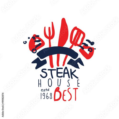 Fotografia  Steak house logo, best estd 1968 vintage label colorful hand drawn vector Illust