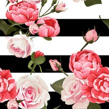 Peony And Roses Vector Seamless Pattern #2 Flowered Texture On Black & White Stripes Background