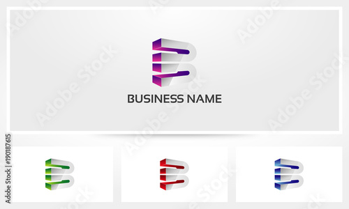 Letter B Block Alphabet Bold Logo - Buy this stock vector and