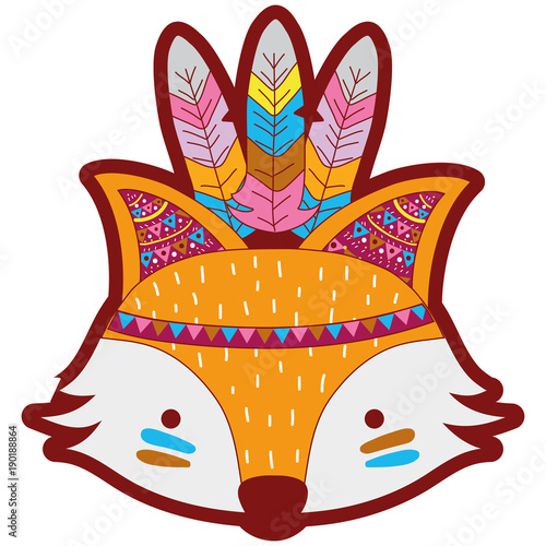 Fotobehang Indiërs line color cute fox head animal with feathers