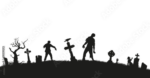 Photo  Black silhouette of zombies on cemetery background