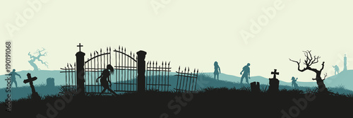 Black silhouette of zombies on cemetery background Fototapet