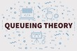 Conceptual business illustration with the words queueing theory