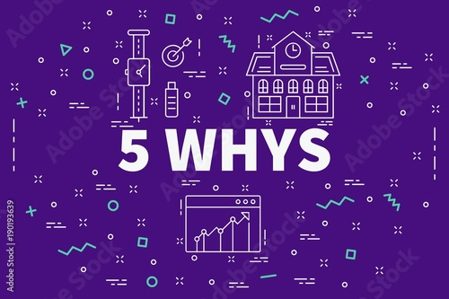 Fotografija  Conceptual business illustration with the words 5 whys