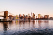 View of Brooklyn bridge and Manhattan in New York, USA in the morning