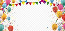 Colored Confetti Balloons Festoons Transparent Header