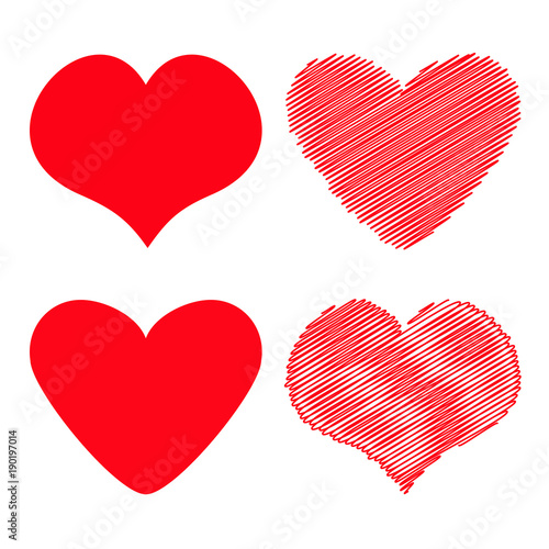 Red heart icon set  Different shape  Happy Valentines day